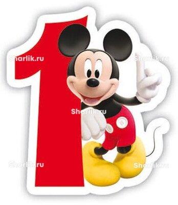Свеча фигурная цифра 1 Микки Маус