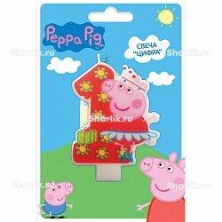 Свеча фигурная Свинка Пеппа цифра 1