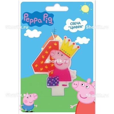 Свеча фигурная Свинка Пеппа цифра 4