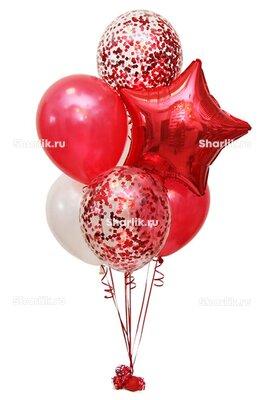 Фонтан из шаров с красным конфетти и звездой