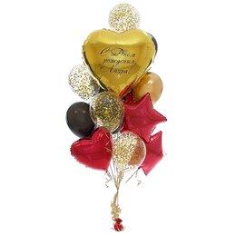 Фонтан из шаров с большим золотым сердцем с надписью, красными звездами и сердцем, золытым конфетти