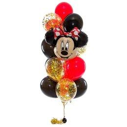 Фонтан из шаров с головой Минни Маус в черно-красной гамме и золотым конфетти