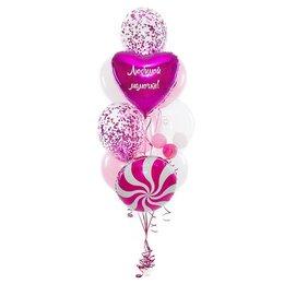 Фонтан из шаров с сердцем с надписью, шаром Bubbles и леденцом