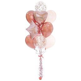 Фонтан из шаров розовое золото с конфетти, сердцем и звездой, с надписями