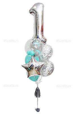 Фонтан из шаров с цифрой 1, в серебряной гамме, с шаром Bubbles и звездой