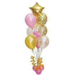 Фонтан из шаров с золотой звездой, шаром Bubbles и золотыми розами на белом шаре