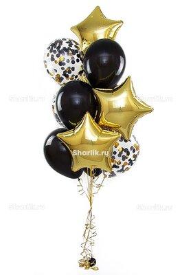 Фонтан из шаров с золотыми звездами, черными шарами и  конфетти
