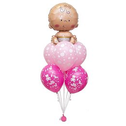 Фонтан из шаров с малышом на верхушке розовых шаров с мишками и смайлами