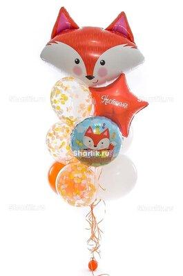 Фонтан из шаров с головой лисенка, рыжей звездой с надписью и шаром с лисенком