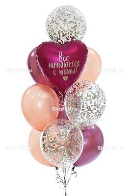 Фонтан из шаров с темно-розовым сердцем с надписью, в розовых тонах с серебряным конфетти