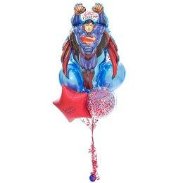 Фонтан из шаров с суперменом, красным сердцем с надписью и красным конфетти
