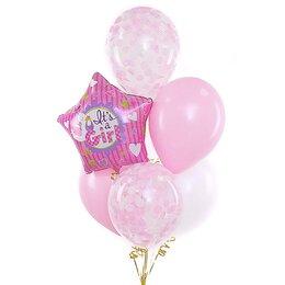 Фонтан из шаров с розовой звездой с надписью и рисунком аиста и розовыми шарами