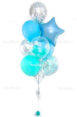 Фонтан из шаров в голубых оттенках,шаром Bubbles, голубой звездой и серебряным конфетти