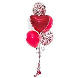 Фонтан из шаров красный с сердцем и конфетти