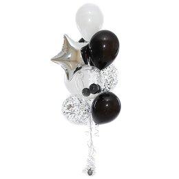 Фонтан из шаров в черно-серебряной гамме со звездой шаром Bubbles
