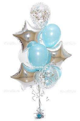 Фонтан из шаров с серебряными звездами и голубыми шарами