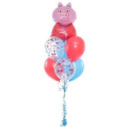 Фонтан из шаров со Свинкой Пеппой на верхушке красно-голубых шаров