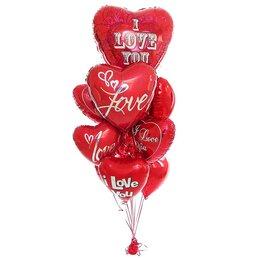 Букет из шаров красные сердца с надписью I love you