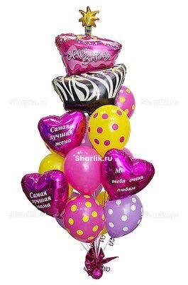Букет из шаров в виде торта со свечкой, с розовыми сердцами с надписями и шариками в горошек
