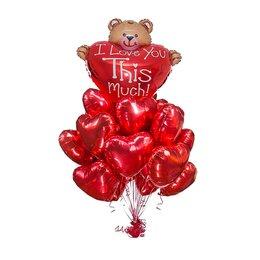 Букет из шаров с мишкой, большим красным сердцем с надписью и красными сердцами из фольги