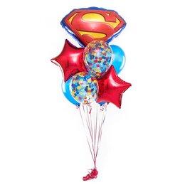 Букет из шаров с большой буквой S (Супермен) и красными звездами