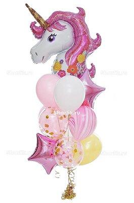 Букет из шаров с большой головой единорожки, розовыми звездами и мраморным шаром