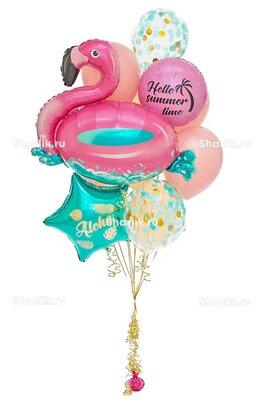 Букет из шаров с фламинго, голубой звездой и кругом с надписями