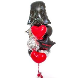 Букет из шаров Голова Дарт Вейдера с красными сердцами, серебряной звездой и черной звездой с надписью